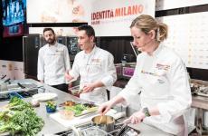 Davide Franco, Antonio Acquaviva e Clare Smyth sul palco di Identità Milano 2018(foto Brambilla-Serrani)