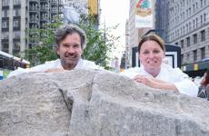 Carlo Cracco and Melissa Rodriguez, executive chef at Del Posto in New York, authors of the second lesson at Identità New York (photo Brambilla/Serrani)