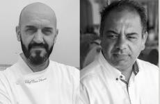 Enzo Florio e Vito Mancini, chef e maitre di Tuccino, istituzione del pesce crudo a Polignano (Bari). Saranno protagonisti di 3 cene all'Hub divia Romagnosia Milano,da giovedì9 a sabato 11 maggio,75 euro vini inclusi