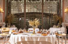 La colazionedell'Enoteca La Torre,all'interno dell'elegante hotel di charme Villa Laetitia, Roma