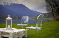 Un frammento del giardino del ristorante Piccolo Lagoa Mergozzo (Verbania), ristorante con due stelle Michelin
