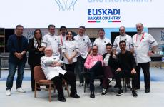 Some of the speakers at Gastronomika, the cooking congress in San Sebastian. In the photo, left to right, standing, there's Joan Roca, Roser Torras, Josean Alija, Eneko Atxa, Elena Arzak, Andoni, Martin Berasategui, Hilario Arbelaitz and Pedro Subijana. Sitting, Juan Mari Arzak and Carme Ruscalleda