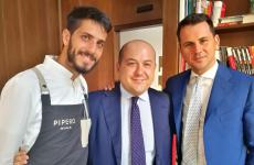 Ciro Scamardella, Alessandro Piperoe Achille Sardiello, rispettivamente chef, patron e maitre di Pipero Roma. I primi due hanno cucinato all'Hub di Identità Golose mercoledì 17 giugno