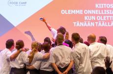 A group photo at the end of Food Camp, the Finnish culinary event that this year had Cristina Bowerman among its protagonists
