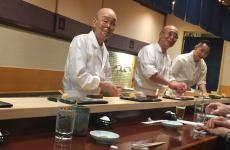 A close-up of Jiro Ono, 92, sushiman since the age of 8, patron at Sukiyabashi Jiro, in Ginza, three Michelin stars. To his right, his son Yoshihiro, 54. Yoshi has a brother, Takashi, who runs Sushi Jiro in Roppongi, two Michelin stars (photo by Zanatta)