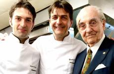 In 2014 Martino Ruggieri, from Martina Franca (Taranto), born in 1986,became part of the staff at the Pavillon Ledoyenin Paris (3 Michelin stars) after a long significant experience (among others,Villa Fiordaliso with Riccardo Camanini, La Pergolawith Heinz Beck, l'Atelier with Joë Robuchon in Paris). He later became chef adjointnext to Yannick Alléno (in the photo, left to right, Ruggieri, Alléno and Gualtiero)
