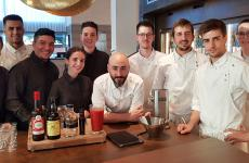 The staff of ristorante Aürt, inside the Hilton Diagonal Hotel in Barcelona. In the middle, chef Artur Martinez