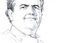 Un disegno raffigurante Gennaro Esposito, classe 1970. È cresciuto con il naso nelle casseruole di mammà. Chef-patron della Torre del Saracino a Vico Equense, due stelle Michelin