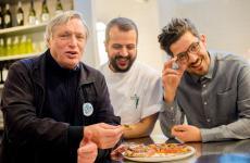 Don Luigi Ciotti con Matteo eSalvatore Aloe. Il terzetto anima la nuova sede di Berberè a Torino, nello stabile che ospita anche il Gruppo Abele