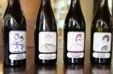 Le quattro bottiglie che portano le etichette firmate da Antonio Marras