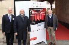 Da sinistra, tre degli organizzatori di Oltre i Gesti: Mario Cucci dell'agenzia Mediavalue, Claudio Sadler presidente de Le Soste, Luigi Franchi direttore di Sala&Cucina(tutte le foto diPaolo Picciotto)