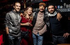 Da sinistra: il fondatore di Beef ZavodMaxim Torganov, la sua compagna, Diego Rossi e Federico Sisti. Lochef di Trippa ha cucinato la settimana scorsa nel ristorante di San Pietroburgo ospite dei Gourmet Days