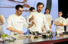 Carlo Cracco and sous chef Luca Sacchi, opening day 2 at Identità Milano (photo Brambilla/Serrani)