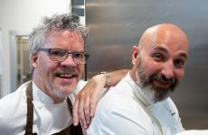 Peter Gordon, to the left, guest chef at Identità Golose Milano representing New Zealand. Next to him, host Andrea Ribaldone