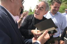 Ferran Adrià celebrated at the castle in Grinzane Cavour; to his left, Terry Giacomello. He's the current chef at restaurant Inkiostro in Parma, and spent 4 years at elBulli in Rosas, the famous restaurant of the Catalan chef
