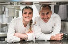 Francesco Apreda con la pastry chef di Idylio,Edvige Simoncelli. Foto di Alberto Blasetti