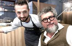 Beniamino Bilali with gastronomist and food critic Andrea Grignaffini at the end of an extraordinary tasting at Pummà Milano