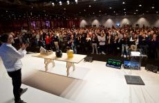Massimo Bottura sul palco dell'Auditorium a Identità Golose 2015