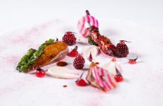 Piccione, arachidi, more fermentate e kir royal: il piatto Benvenuto 2021 di Domenico Stile