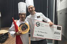 Yusuke AokiandEttore Beligni, respectively first and second place in the 2018 edition ofC3 Valrhona, in New York. The competition is dedicated to chocolate in pastry making. Photos byPaolo Marchi