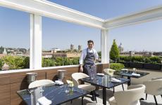 Daniele Lippi sul rooftop del l'hotel romano The First Arte: è il nuovo head chef del ristorante gastronomico interno, Acquolina (tutte le foto sono di Barbara Santoro)