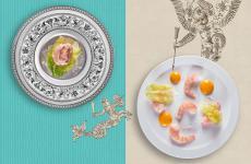 Il Cocktail di gamberi del menu Nel Tempo diMatteo Baronetto, chef del ristorante Del Cambio di Torino: a sinistra la versione classica del popolare antipasto, a destra quella attualizzata