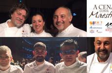 Alcuni degli chef protagonisti de A Cena con il Maestro, la magica serata che si è tenuta lunedì a Cremona. Gli scatti sono di Paolo Marchi, l'elaborazione grafica di Manuel Crippa