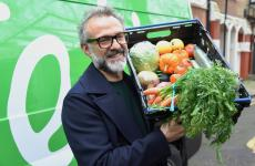 Massimo Botturawith the vegetables for Refettorioin London (photoThe Felix Project)