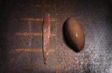 Il sorbetto al cioccolato di Brunelli. Nella foto - di Brambilla-Serrani - il gelatiere lo propone con alici del Cantabrico e polvere di alga palmaria palmata