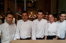 Eduard Xatruch, Oriol Castro together with part of the team at Disfrutar. They are two of the three founders of the restaurant in Barcelona (tel. +34.933.486896): the third, Mateu Casañas, didn't participate in this interview only because he was working at a second restaurant the three partners have opened, Compartir in Cadaqués