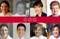 "The female chefs with three stars, in chronological order from the top left corner, clockwise: Elena Arzak, Eugenie Brazier, the most famous of the ""Lyonnaisemothers"" over 50 years ago, Dominique Crenn, Annie Feolde, Anne-Sophie Pic, Carme Ruscalleda, Nadia Santini and Luisa Valazza"