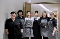 A team made only of women – except for sommelier Marco Tufo – at Artifex inside Hotel Feuerstein in Val di Fleres, Brennero. Left to right, chef Tina Marcelli, her wife Kim Marcelli, Stefanie Jehle, Valentina Lovi who takes good care of the dining room, bread maker Angela Martinelli, sous and pastry chef Sandra Kofler. Photo by Tanio Liotta