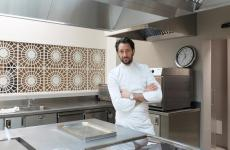 Luigi Taglienti portrayed by Tanio Liotta in his kitchen at Lume, in Milan