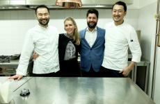 Lo chef Takeshi Iwai, la maîtreMaria Giulia Magario, il sommelier Roberto Rizzo e il sous Shimpei Moriyama. Ossia le punte di lancia di cucina, sala e cantina (con quest'ultima che ora funziona benissimo pure lei). Le foto sono di Tanio Liotta