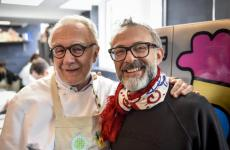 Alain Ducasse and Massimo Bottura in a photo taken at Food For Soul's Refettorio in London. The French chef cooked in all the Refettorios opened so far and on Tuesday 11th December he'll be in Milan for a fund-raising dinner for the same project