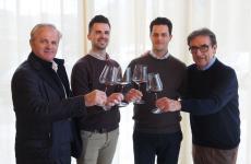 Diego, Mattia e Michele Cottini insieme a Riccardo Cotarella