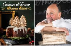 La copertina diCucinare al Fresco - Christmas Editione, sulla destra, lo chef Moreno Cedroni