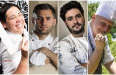 I quattro chef stellati siciliani under-35 protagonisti di questo articolo: Martina Caruso, Giuseppe Biuso, Alessandro Ingiulla, Giuseppe Raciti