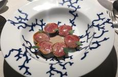 I Ravioli con lepre à la royalee castagne diMatteo Grandi,ristorante DegustoaSan Bonifacio (Verona)