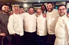 The protagonists of the first of two gala dinners at Cultural, the Festival of Italian cuisine organised by Mauro Bochicchio in Paris. Left to right, Gennaro Battiloro, Peppe Guida, Gianluca Ceolin, Cristoforo Trapani, Corrado Assenza, Roy Caceres, Angelo Sabatelli