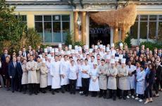 The complete team fromYannick Alléno'sPavillon Ledoyenin Paris: three restaurants, two stars (three forAlléno Paris, two forL'Abysse, one for the newPavyllon, which we visited)