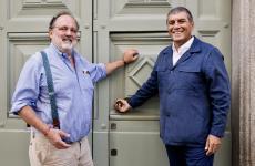 Paolo Marchi e Claudio Ceroni, fondatori di Identità Golose, davanti all'ingresso di Identità Golose Milano, che sospende la programmazione serale in ottemperanza alle nuove disposizioni legate all'emergenza Coronavirus