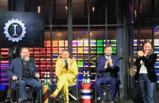 Michele De Lucchi, Lapo Elkann and Carlo Cracco at the opening of Garage Italia, presented by Camila Raznovich