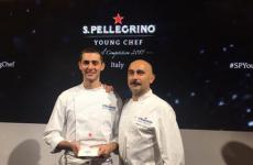 Edoardo Fumagalli with Anthony Genovese, who will mentor him in preparation of the super finals of the S.Pellegrino Young Chef (photo finedininglovers.it)