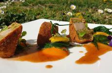 Capretto dorato alla camomilla, limone, agretti e mango: la ricetta primaverile di Maria ProbsteCristian Santandrea