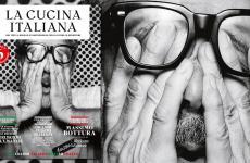 La copertina del numero di luglio de La Cucina Italiana. La foto di Massimo Bottura è stata scattata dall'artista francese JR