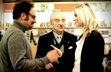 Gualtiero Marchesi with Paolo Lopriore, his favourite pupil, and blogger Stefania Buscaglia from Mangiaredadio. She met them in Como, in April 2016, at the presentation of the book by the maestro. Marchesi has always considered Lopriore the best person to continue his work, even at Alma, the international school of Italian cuisine in Colorno, Parma