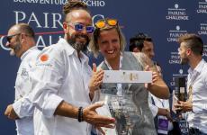 Marcello Trentini, chef patron del ristorante Magorabin di Torino, e la bartender Carlotta Linzalata festeggiano la vittoria alla prima edizione del Bonaventura Maschio Pairing Challenge organizzato dalla Distilleria Bonaventura Maschio