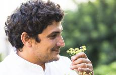 Mauro Colagreco in the vegetable garden of his restaurant, Les Sanctuaries de Mirazur