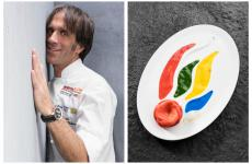 Here's the recipe for Ciaolà, the dish Davide Oldani, Sport and food ambassador of the Italian team in the Olympics, created in view of Rio de Janeiro 2016. It unites a mousse and four sauces in different colours, stylising the Olympic torch